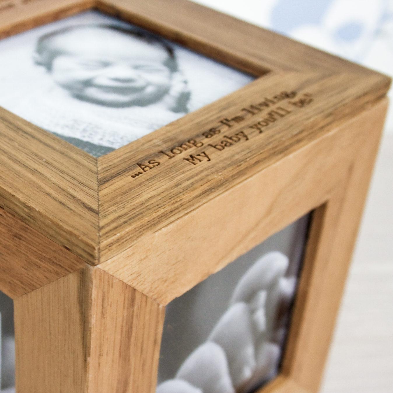 Personalised Oak Photo Cube Keepsake Box - The Gift Gazebo