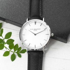 Modern - Vintage Personalised Leather Watch In Black & Silver