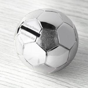 Silver Plated Football Money Box
